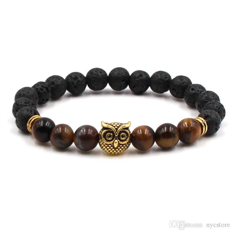 Mode Achat Buddha-Korn-Schmuck Lava Vulkansteineulenkopf-Armband 8 mm Perlen und Vulkangestein Personen Schmuck Yoga Armband-Geschenk