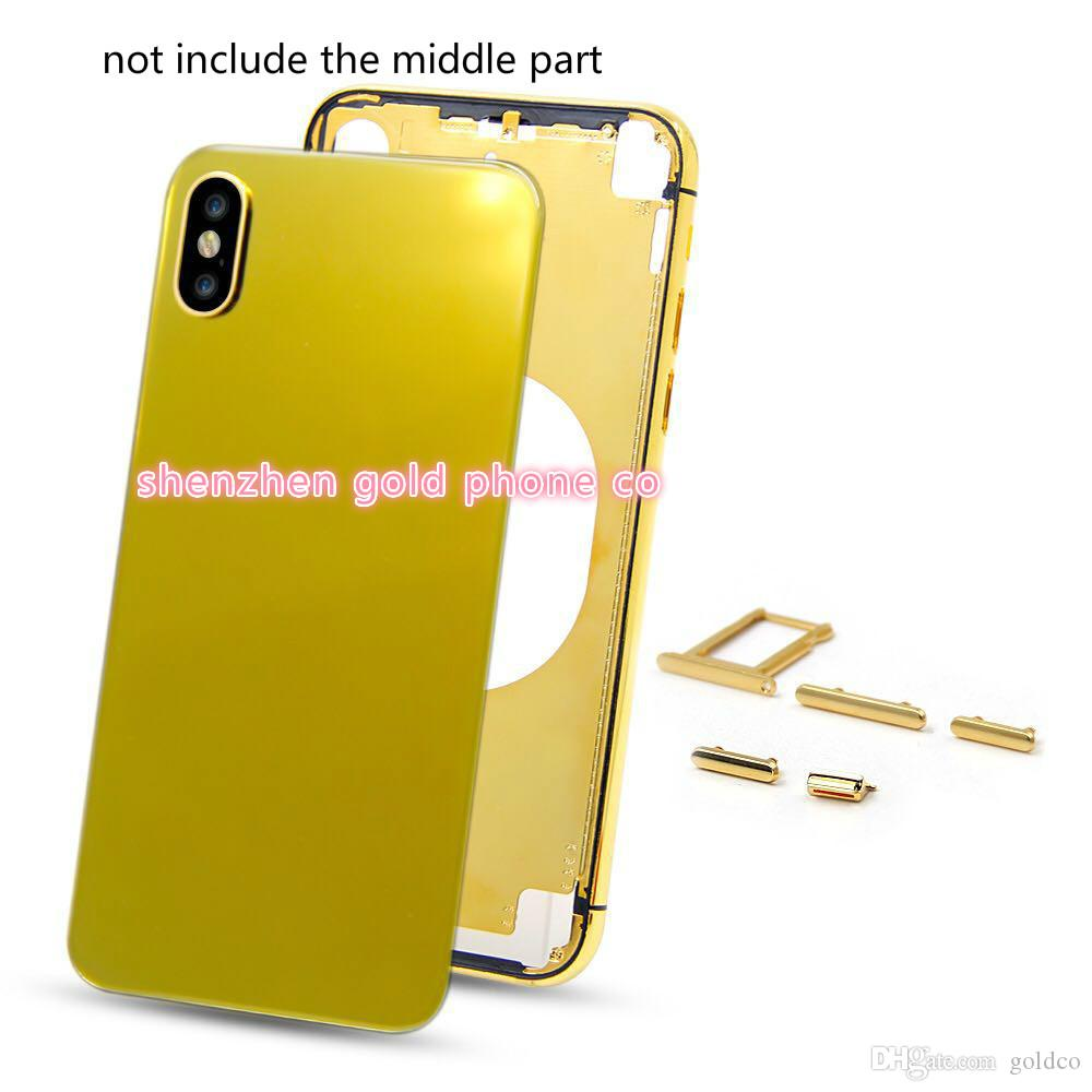 Change 7G to X Back Housing with Metal Frame Battery Door Replacement for iPhone x real gold Gold housing back part metal
