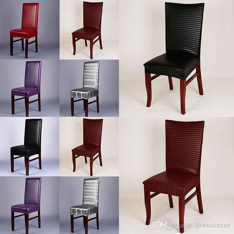 chair seat covers. Chair Cover PU Leather Stretchable Dining Seat Covers Waterproof  Dustproof Slipcovers Protectors For Hotel Restaurant Chair Seat Covers C