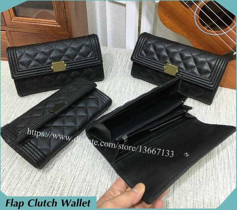 bf165a21510f 2018 New Women S Real Leather Long Wallet Black Lambskin Boy Flap Wallet  Caviar Clutch Purse Note Compartment Card Holder Pierre Cardin Wallet Black  Wallet ...