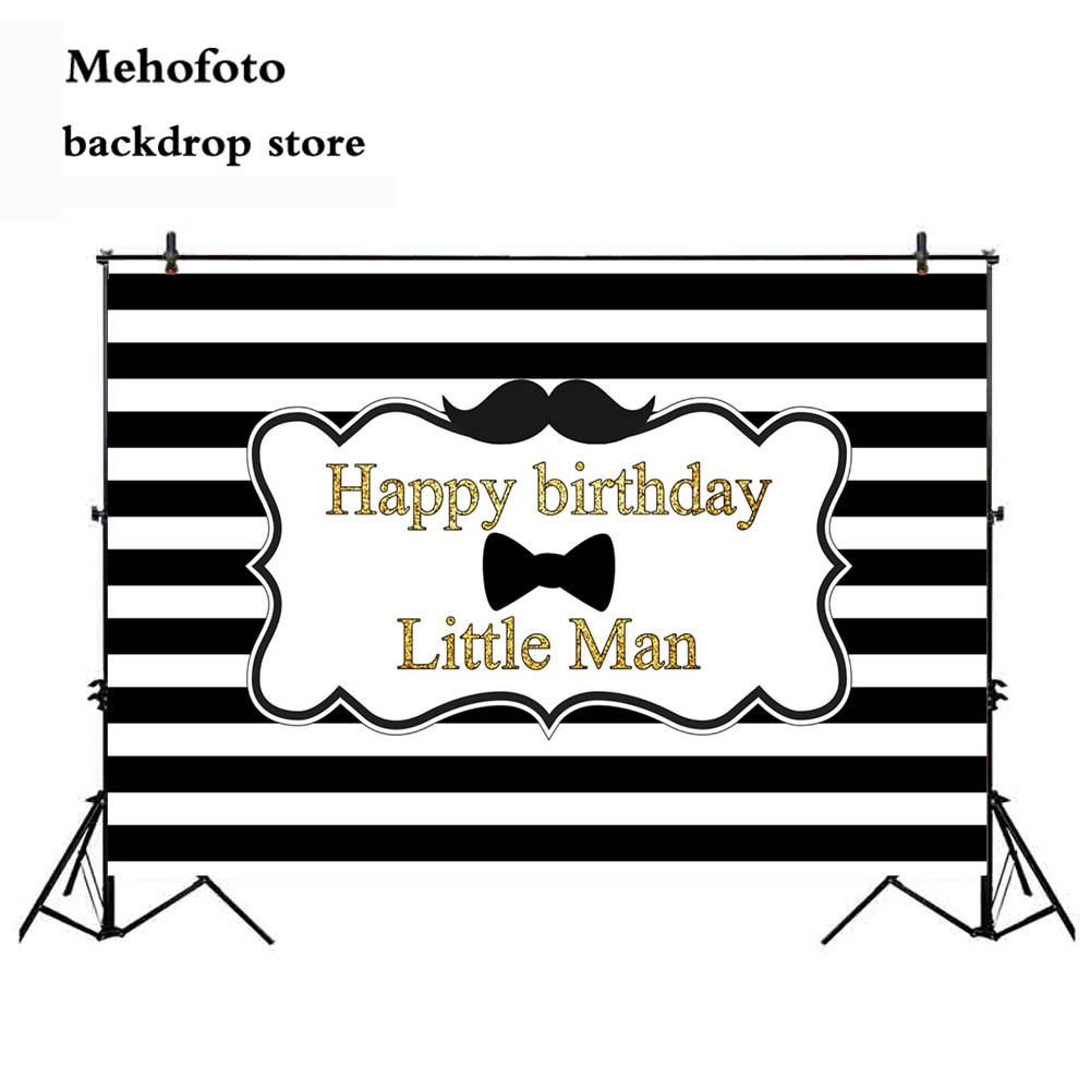 2018 wholesale happy birthday little man photography backdrop white and black stripe photo background mustache newborn baby party 927 from lvzhiphone001