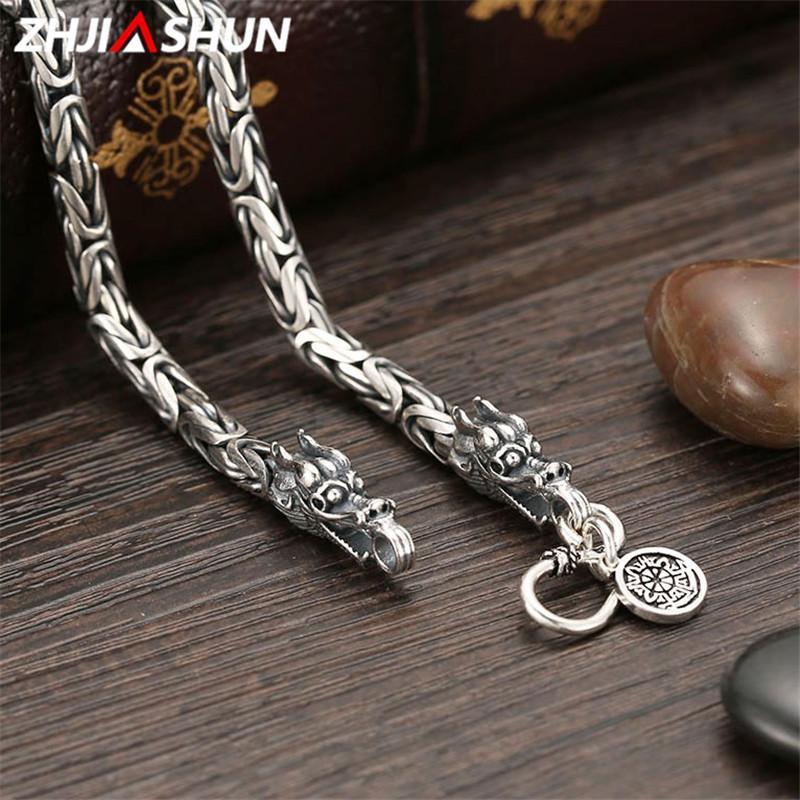 06e63599db57 Compre ZHJIASHUN 925 Collar De Cadena Pesada De Plata De Ley Para Hombres  Masculinos Vintage Thai Silver Dragon Collares Joyería Para Hombre YSN003 A  ...