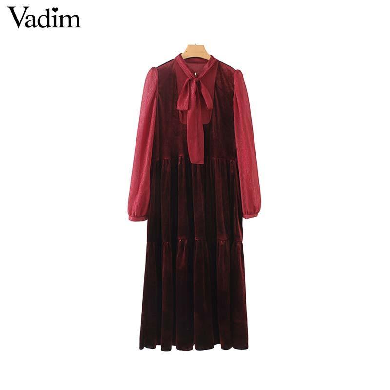 cc2a81a3fcb Vadim Women Red Velvet Midi Dress Bow Tie Collar Long Sleeve Pleated Female  Casual Chic Mid Calf Dresses Vestidos QA727 Bride Dresses Vintage Prom  Dresses ...