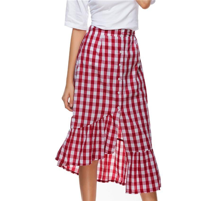 c2ec8572c Check Gingham Midi Skirt Women Red White Plaid Empire Long Skirts Ruffled  Female Spring Summer Skirt High Waist Cotton Club Sexy Women Black Dresses  For ...