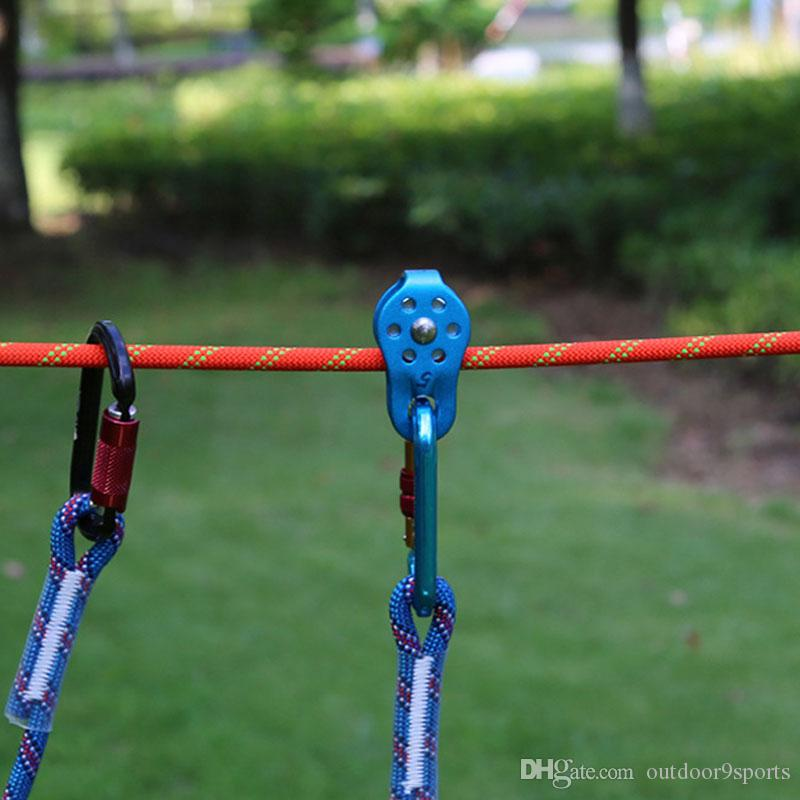 New Colorful Outdoor Single Fixed Pulley Rescue Rope Pulley Transport Lifting Pulleys Aluminum Climbing Crossing Pulley