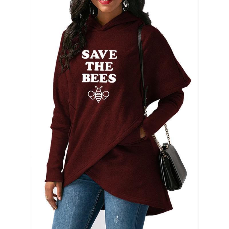 2018 New Fashion SAVE THE BEES Print Kawaii Hoodies Women Tops ... f027d77f3e5e