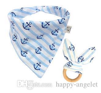 Baby Cotton Triangle Bib burp Set di denti Bandana fazzoletto neonato Saliva Bavaglini Grembiule Grembiule di legno mastica i denti Giocattoli di pratica YE014