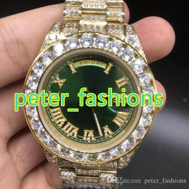 Diamonds Discount Luxury Hip From Green 289 Proof Face Peter Aaa 35 Watch Hop Iced 43mm Men's Rappers Watches fashions Discounted Water com Size Out Dhgate Shiny