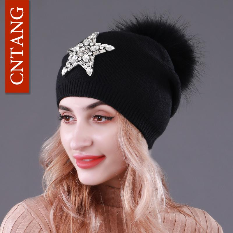 CNTANG Autumn Knitted Wool Hats For Women Winter Warm Caps With Star  Rhinestones Natural Raccoon Fur Pompom Hat Female Beanies Beanie Boo  Trucker Hats From ... 117fb49c22ef