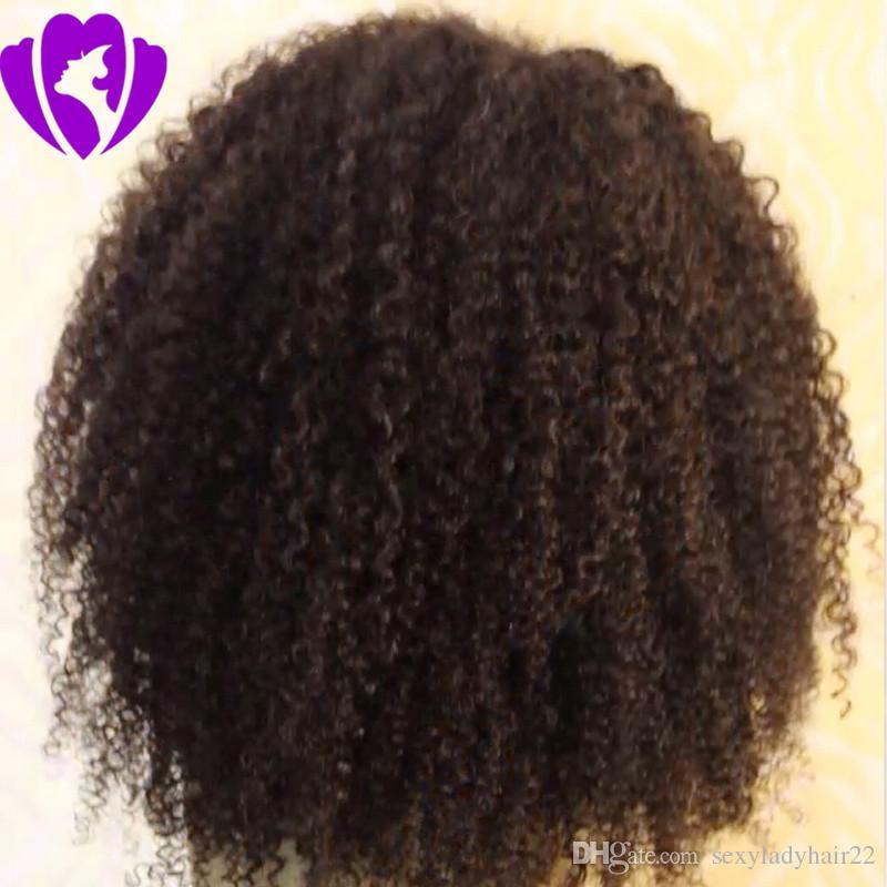 Parte laterale nera Parrucche ricce corte donne nere Parrucca anteriore sintetica riccia sintetica Afro Kinky donne afroamericane