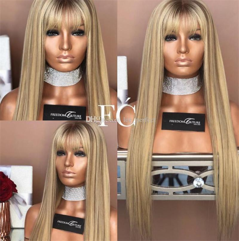 Unprocessed Brazilian Original Hair Silk Top Full Lace #1bt27 Ombre Blonde Wigs With Bangs 130% Density Human Hair Glueless Lace Front Wigs