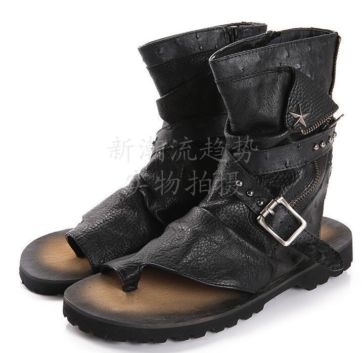 Lederschuhe Flip Flops Herren Sandalen Schuhe Gladiator Sommer Männer Mode Casual 5RjAL43q