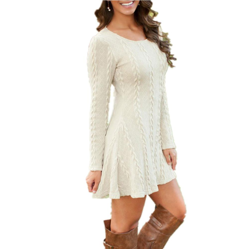 b84171de43 Women Causal Plus Size S 5xl Short Sweater Dress Female Autumn Winter White  Long Sleeve Loose Knitted Sweaters Dresses White Dress Skirt From Kaseller