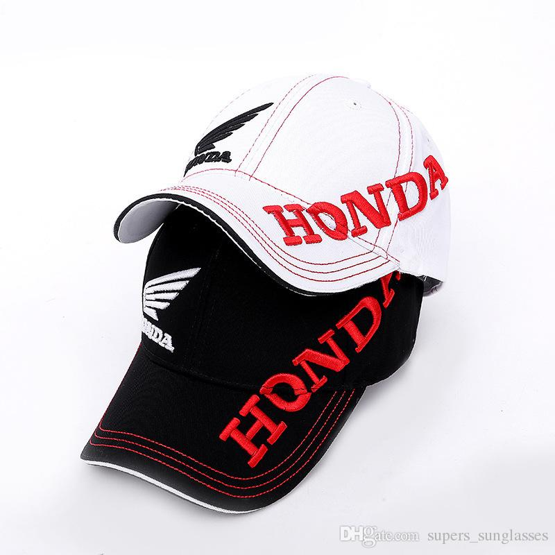 0d5ab3454ef Moto GP Letters Honda Motocross Riding Hats 3D Embroidered Wing F1 ...