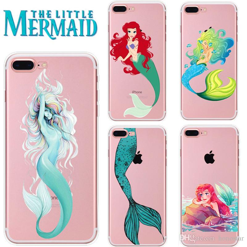 new products d2ca0 2e39a The Little Mermaid Phone Cases Transparent Soft TPU Protector for iPhone X  XR XS Max 7/8 6s 5s Samsung Note9 Note8 S9 S8plus S7 15 designs