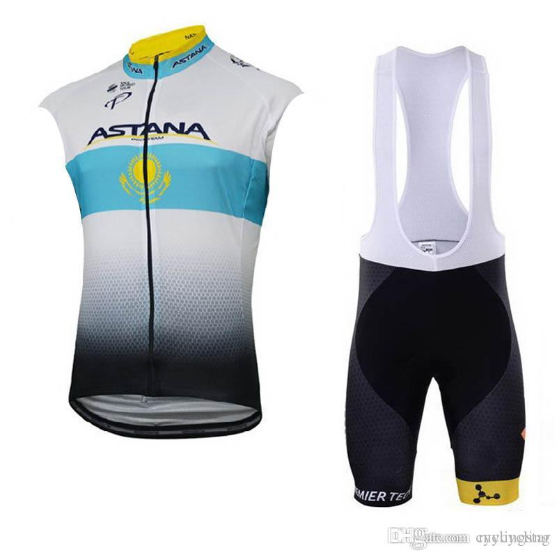 New 2018 ASTANA Pro Cycling Sleeveless Jersey Bike Bib shorts Set ... 91468365d
