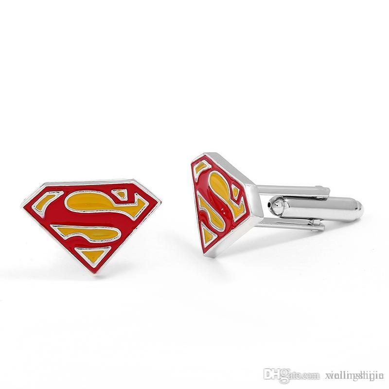 2018 top high quality superman triangle s enamel cufflinks for mens