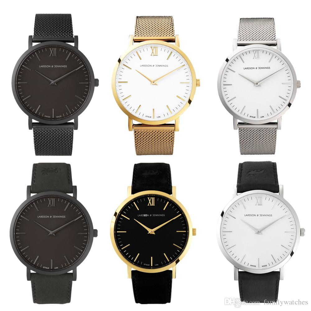 5cbd3d83e49c6 Hot Marcas Larsson Jennings Watch Men And Women Leather Stainless Steel  Strap Dress Watch 40MM Dial Business Lj Watch Reloj Montre Watches On Sale  Watches ...