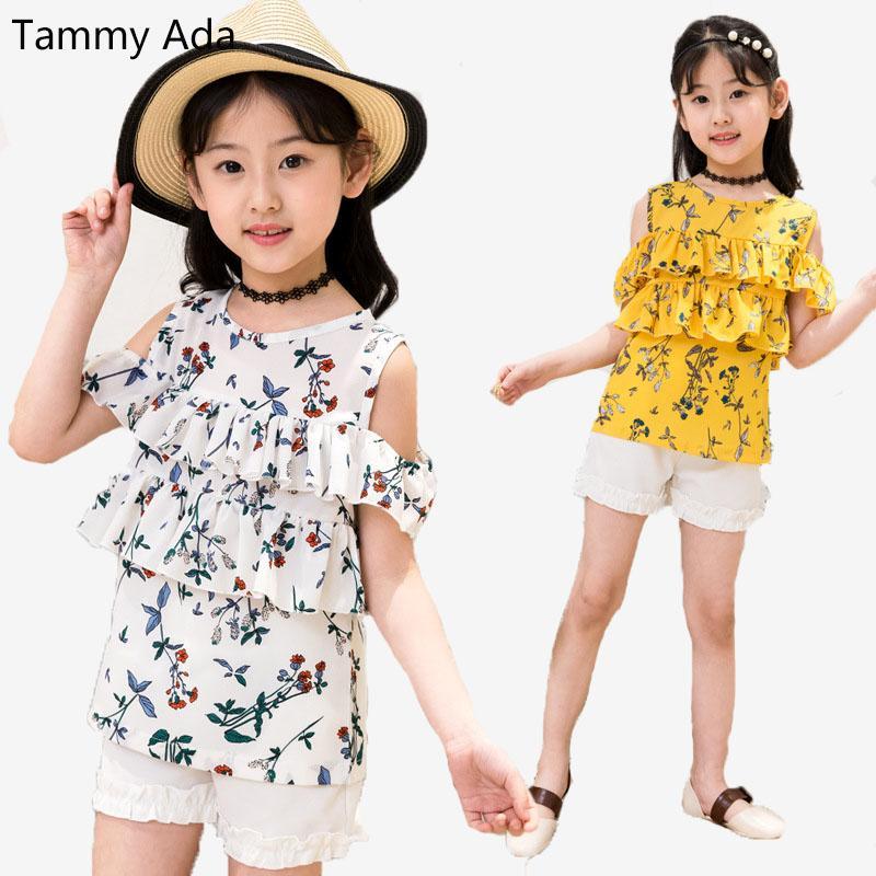 0e6059637304 2019 Tammy Ada Girls Summer Clothes Set Fashion Shoulderless Floral ...