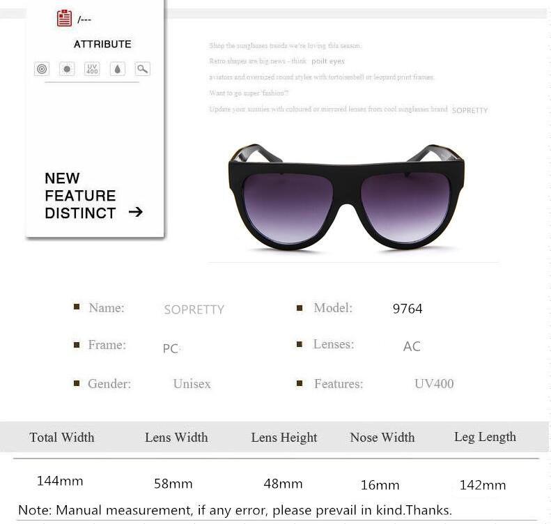 Newest Fashion gradient Women Sunglasses big frame cat lady sunglass