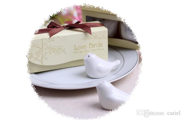 Novos Pássaros Do Amor Na Janela De Cerâmica De Sal Pimenta Shakers Favor Do Casamento Para O Presente Do Partido com caixa de presente de varejo H076B