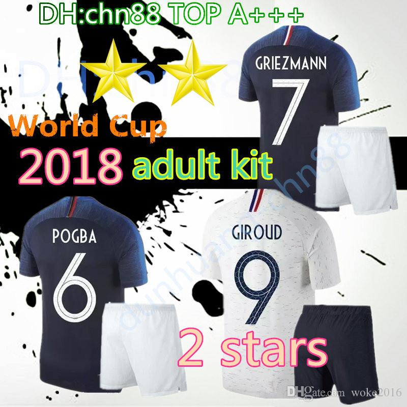2 Stars 2018 World Cup GRIEZMANN POGBA MBAPPE Adult Kits Soccer ... 1848a769a
