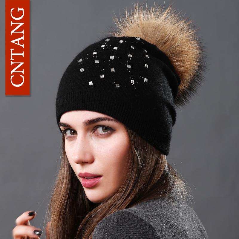 CNTANG Wool Knitted Hats Fashion Rhinestone Glass Women Autumn Winter Warm  Caps Natural Raccoon Fur Pompom Hat For Female Beanie Baby Sun Hat Knit Hat  From ... af21646d01