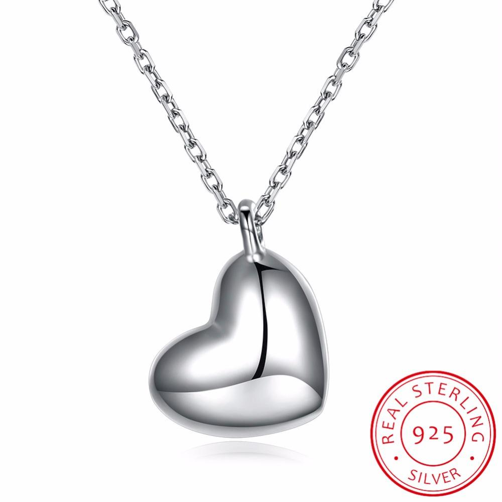 LEKANI Trendy 925 Sterling Silver Mirror Polish Heart Pendant Necklace Long Link Chain Vintage Wedding Jewelry For Women LN0190