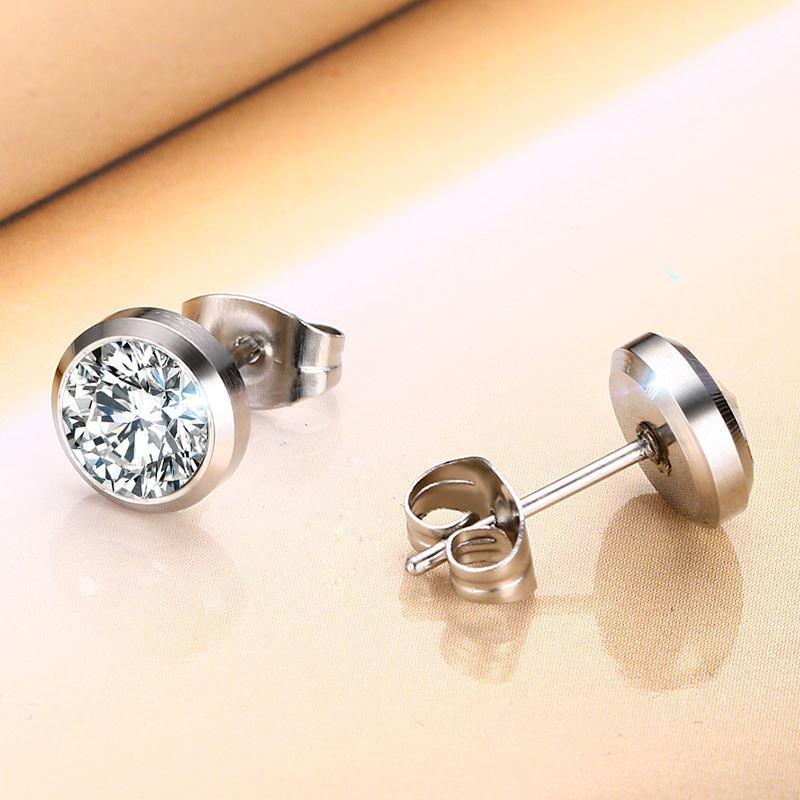 Vnox CZ Stone Classic Orecchini semplici le donne Colore argento Orecchini gioielli delle donne