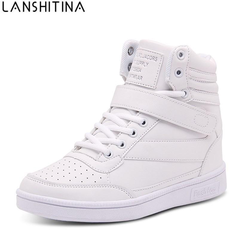 2017 Women Casual Shoes Espadrilles Platform Hidden Increasing Sneakers PU  Leather Shoes Woman Breathable High Top White Shoes Shoes Woman Shoes  Espadrilles ... 03421d633dda