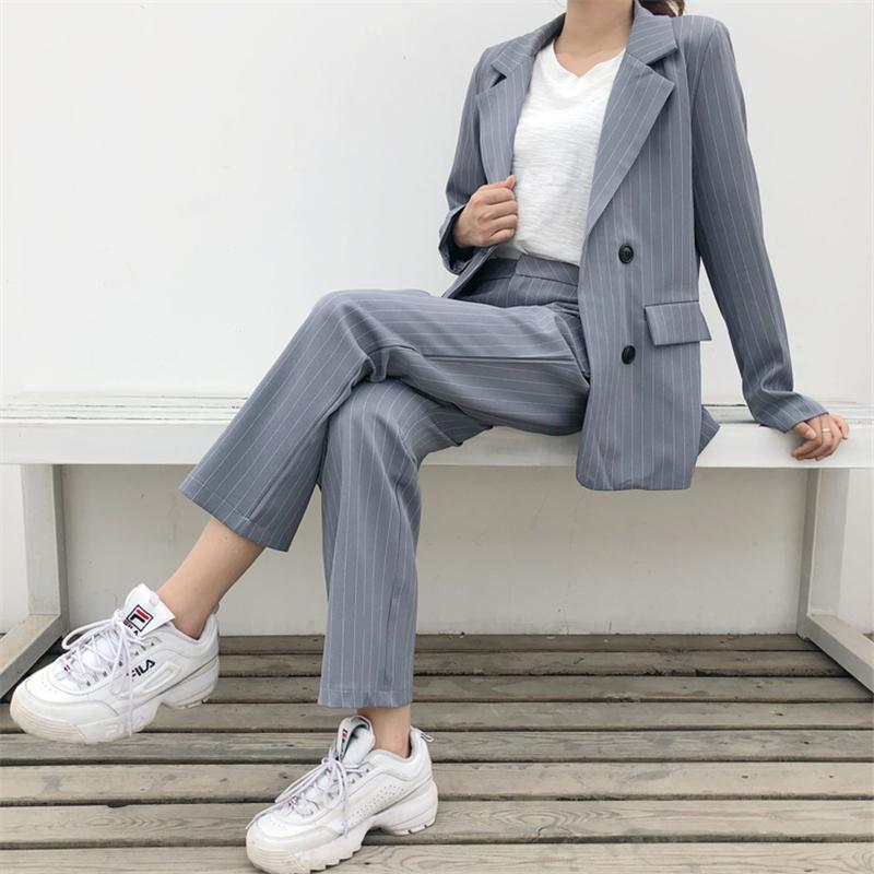 74c8932444 2019 HziriP 2018 Professional Business Women Suits Stripe Formal Womens  Short Pants And Double Breasted Jacket Blazer Work Wear Suit From  Vanilla10