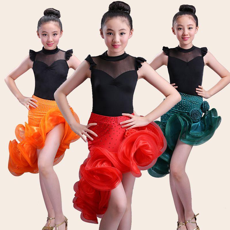 Compre Niño Niño Niños Niña Profesional Vestido De Baile Latino Niños Salón De  Baile Sexy Tango Vestidos Para Niñas Tops Faldas Trajes De Salón De Baile A  ... ecbae2e6d5e