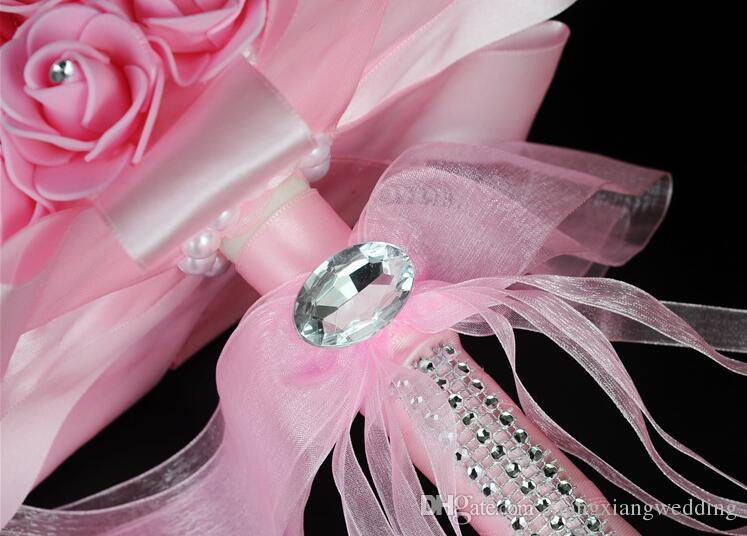 Ramo de novia Flores de boda Flor artificial Cinta de dama de honor Forma de hemisferio de cristal Rosas blancas Estilo coreano