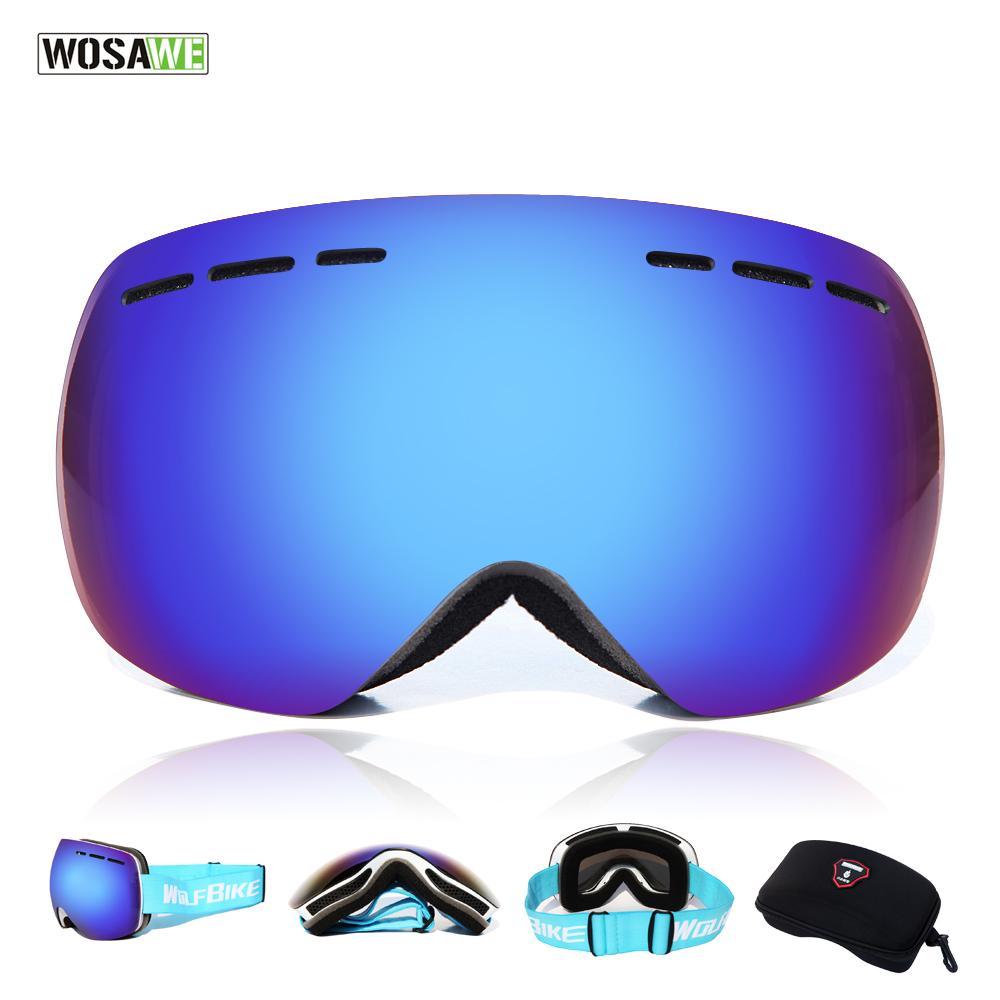 c69917cbbbf WOSAWE Ski Glasses With Case Set UV400 Anti-fog Spherical Ski Goggles  Double Layers Skiing Men Women Snow Goggles Skiing Eyewear Cheap Skiing  Eyewear WOSAWE ...