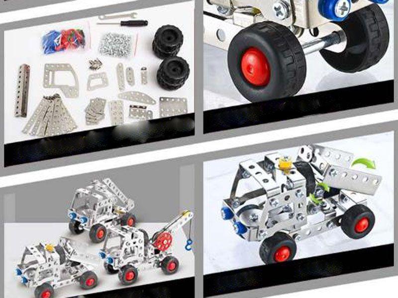 Kids 3D Assembly Metal Engineering Vehicles Model Kits Crane Truck Building Puzzles Construction Alloy Assembled Building Blocks Model Toys