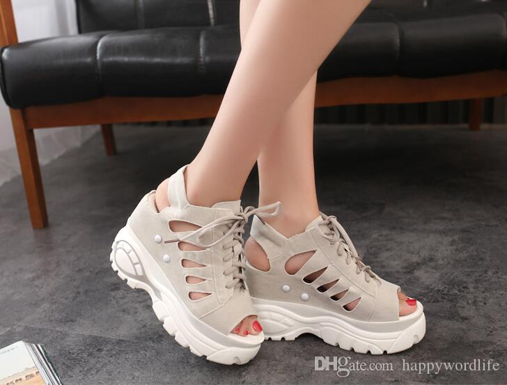 Ladies New Korean version, black and pink with thick bottom casual lace fry summer cool shoes
