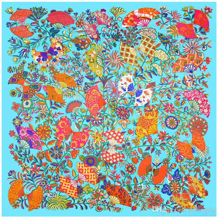 Lake Blue Twill Silk Scarf Women Fashion Floral Fan Printed Hijab Female Beach Shawl&Wrap Large Foulard Square Scarves 130*130cm