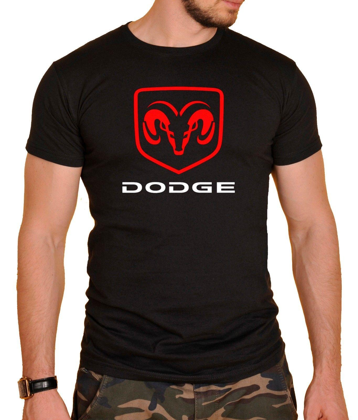 Dodge Logo Cars T Shirt Black New Style Short Sleeve Print Tee Shirt