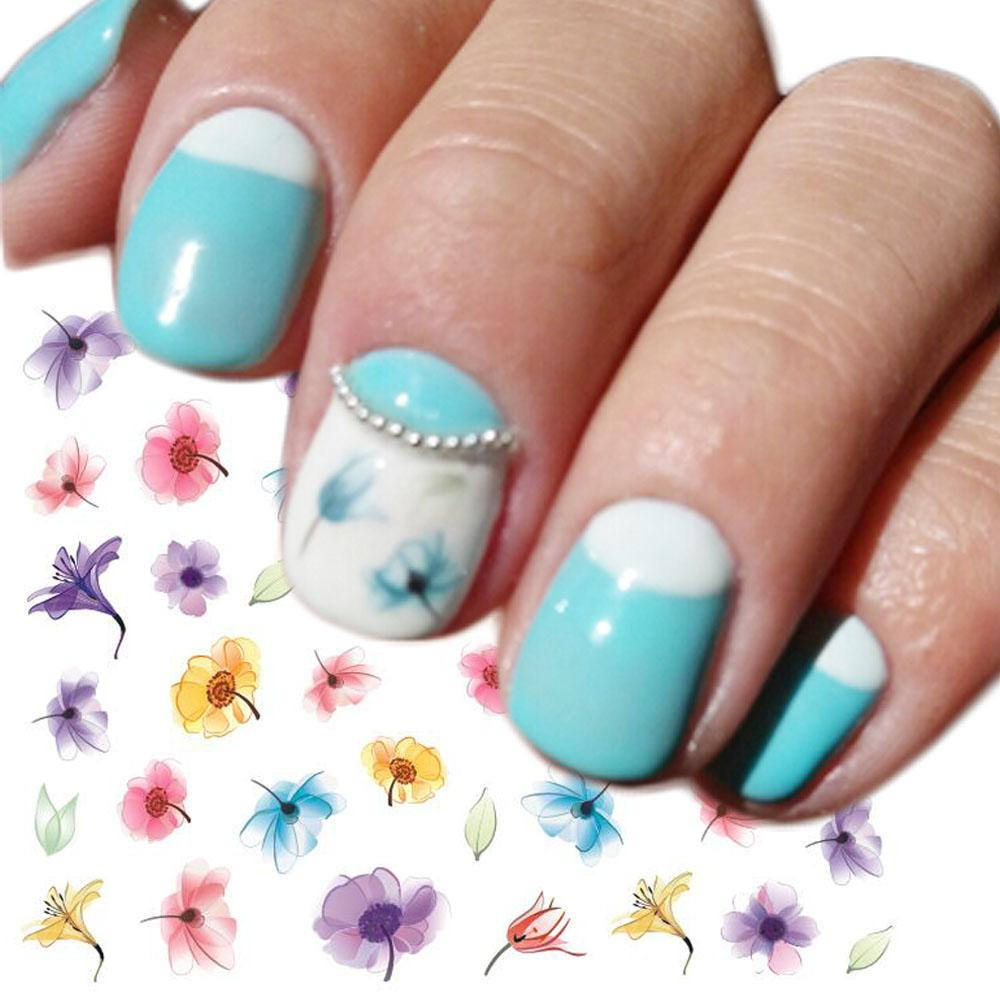 1 sheets hot sale beauty flower gradient decals nail water transfer 1 sheets hot sale beauty flower gradient decals nail water transfer sticker diy colorful purple blue tattoo trstz464 removable wall stickers vinyl wall izmirmasajfo