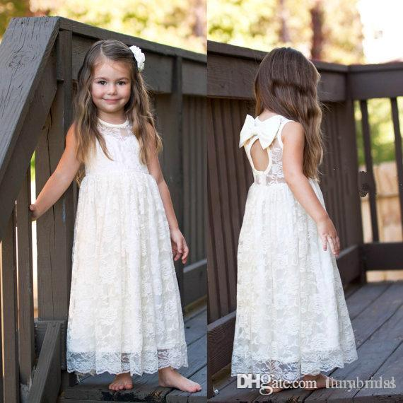 Beige Color Free Shipping A Line Flower Girl Dresses Sleeveless Floor Length Lace Girl Dress Wholesale