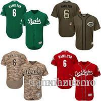 timeless design ab1da 5c840 Camo green Billy Hamilton Authentic Jersey , Men s #6 Majestic Ci Reds  Flexbase Collection