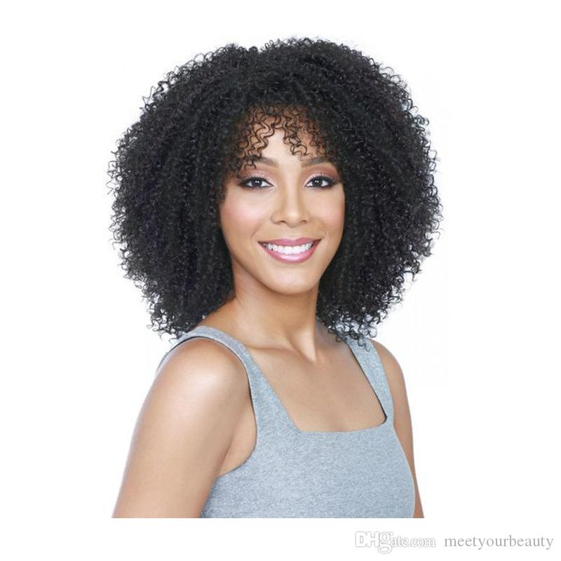 Charming Women Short Afro Kinky Curly Wig Brazilian Hair African Ameri  Simulation Human Hair Kinky Curly Wig With Bang Styling A Synthetic Wig Wig  Uk From ... 957af0da4f