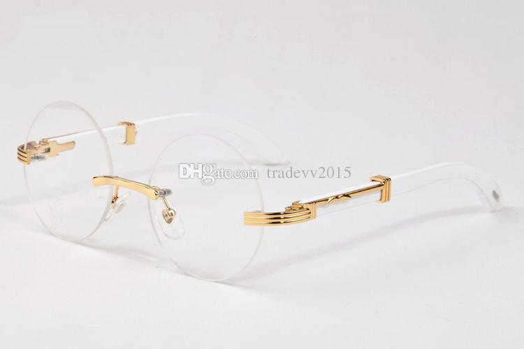 2018 rimless frame fashion brand buffalo horn glasses clear sunglasses for men women gold wood frame round circle lenses eyeglasses with box