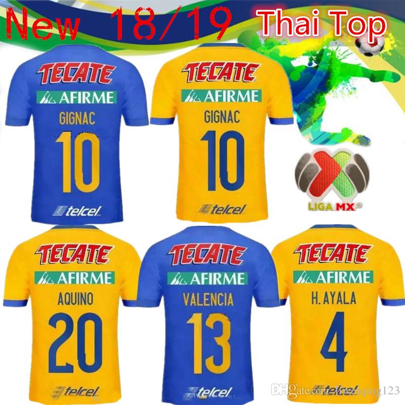 0e0ac94aa 2019 2018 2019 Tigres UANL Soccer Jersey 18 19 Mexico Club Tigers Yellow 6  Stars GIGNAC Vargas H. Ayala SOSA Away Blue Jerseys Football Shirts From ...