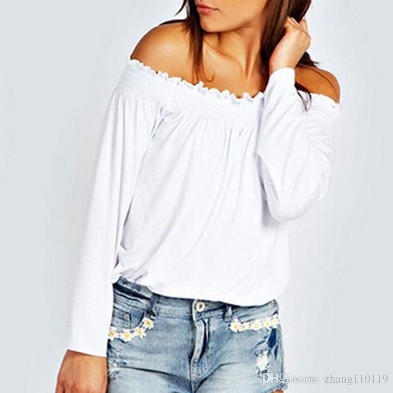 cb0522ae41 Zanzea 2018 Spring Sexy Womens Ladies Solid Shirred Off Shoulder Tops  Casual Long Sleeve Blouse Shirt Plus Size Blusas Femininas