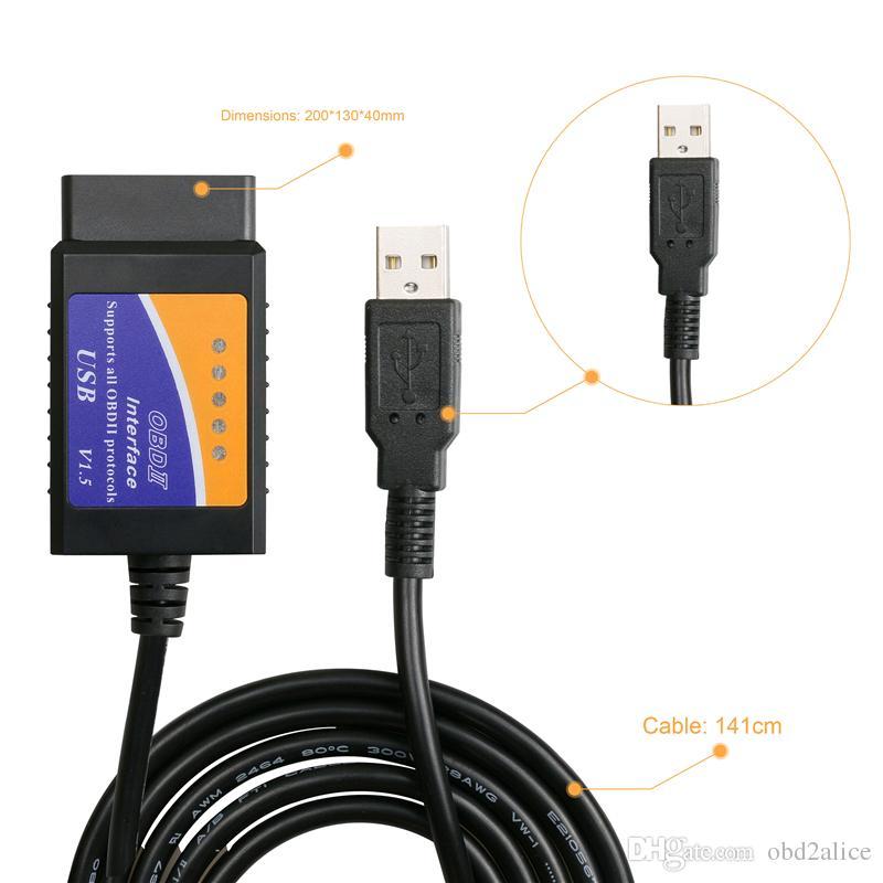 La mejor calidad OBD / OBDII escáner V1.5 ELM 327 USB herramienta de escaneo de interfaz de diagnóstico de coche ELM327 interfaz USB