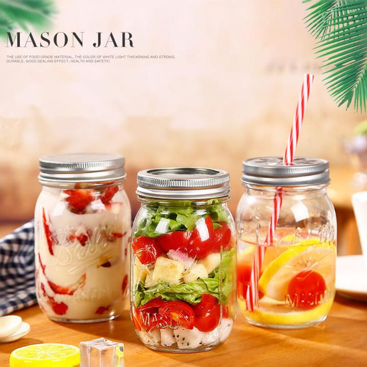 500ml/750ml Clear Mason Jar Glasses Mugs Jam Honey Salad Bottle With Lid Juice Drink Glass Cup Kitchen NNA459