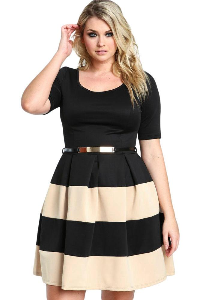 8f47a54e59 Big Girl 3xl Casual Autumn Summer Short Sleeve Women Apricot Stripes Detail  Belted Plus Size Skater Dress Fashion Casual Long White Summer Dresses Cute  ...