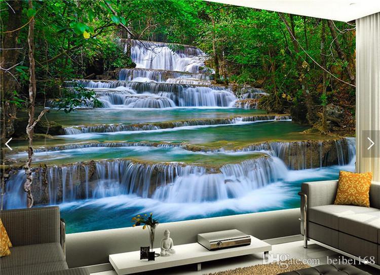 Poster Murali Per Camere Da Letto : Acquista 3d waterfalls wallpaper photo murale camera da letto carta