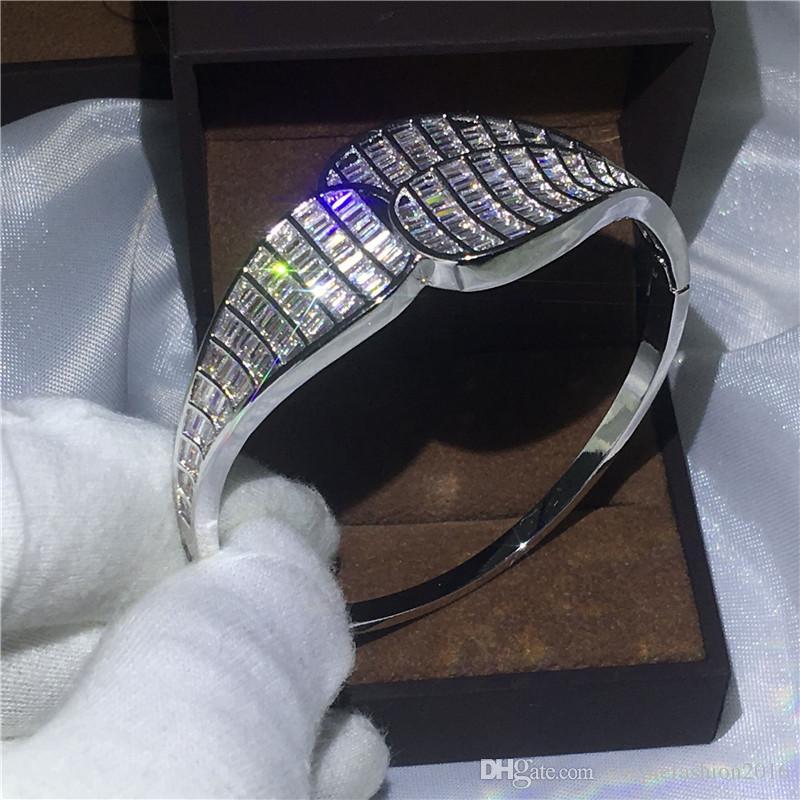 High Quality Luxury Bridal Big Bangle Princess cut Diamond 925 Silver Filled Engagement Bracelet for women wedding Jewelry